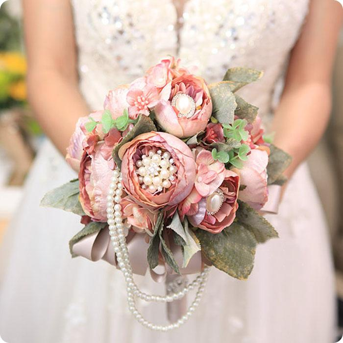 Vintage European Style Luxury Champange Wedding Artificial Flowers Bridal Bouquets Leaves Supplies With Rhinestone