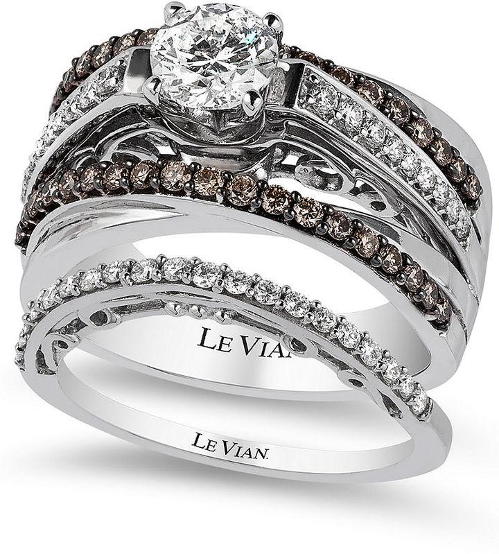 Le Vian Bridal Certified White And Chocolate Diamond Engagement Set In 14k Gold 1 3 8 Ct T W