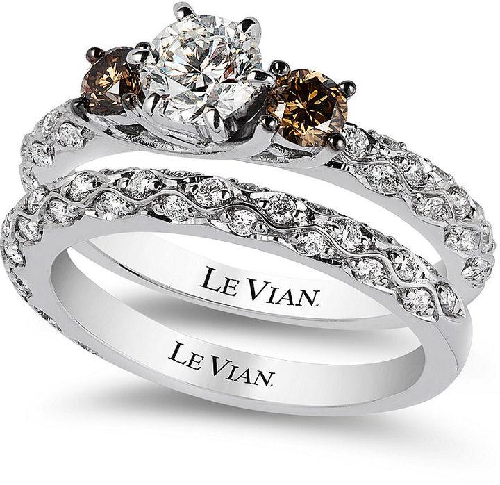 Le Vian Bridal White Certified Diamond And Chocolate Engagement Ring Set In 14k Gold 1 3 8 Ct T W