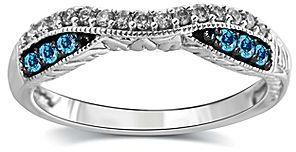 Fine Jewelry 1 4 Ct T W White And Color Enhanced Blue Diamond 10k Gold Wedding Band