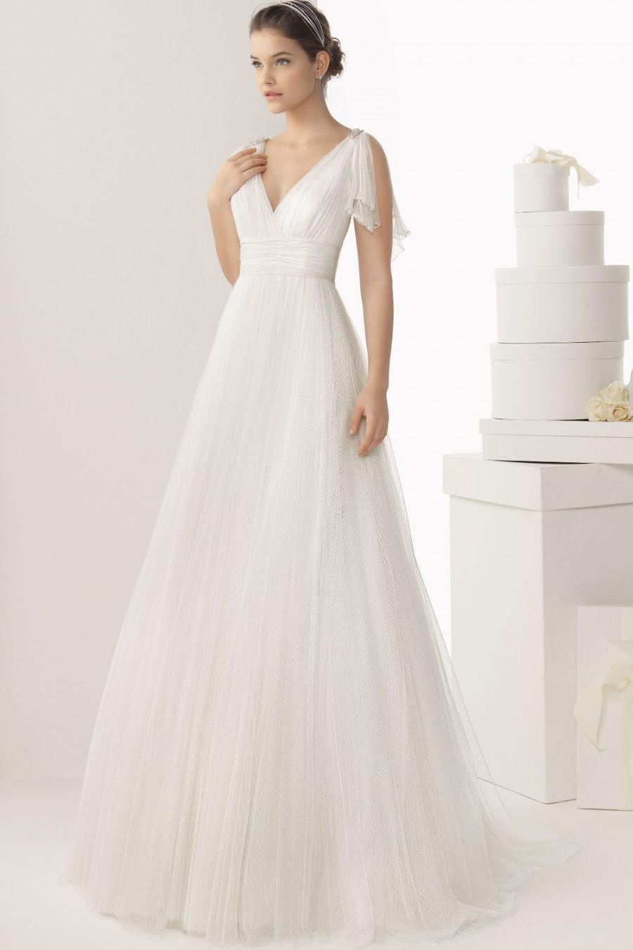Y V Neck Back Empire Tulle White Wedding Dress Uk