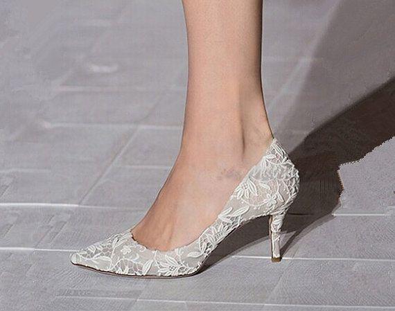Wedding Shoes Lace Ivory White Bridal Womens Black