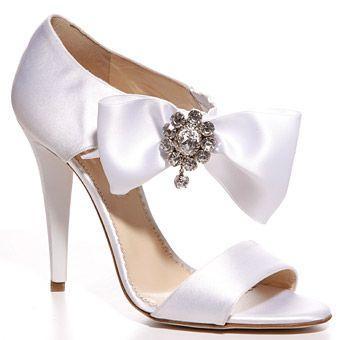 Oscar De La A White Satin Pump With Ribbon And Diamond Encrusted Accent Wedding Shoes