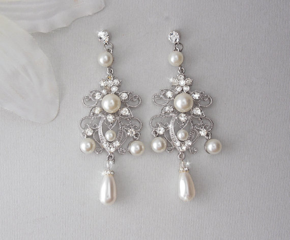 Bridal Earrings Chandelier Wedding Swarovski Pearl Vintage Old Hollywood Glam Sa