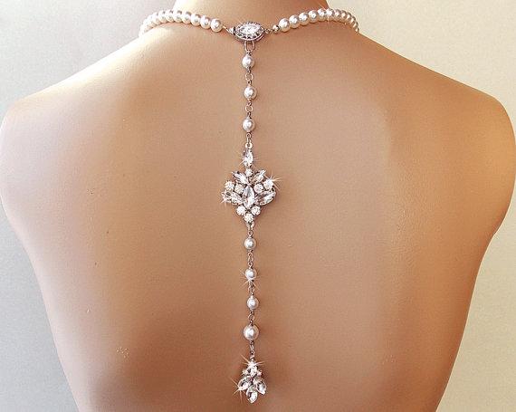 Bridal Backdrop Necklace Wedding Crystal Pearl Jewelry Statement Trisha