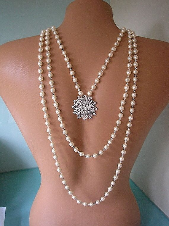 Great Gatsby Jewelry Wedding Custom Made Bridal Accessories Backdrop Necklace Art Deco Pearls