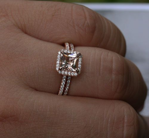 14k Rose Gold 6mm Morganite Princess Cut Single Emerald Halo Ring And Diamonds Wedding Band Set Choose Color Size Options At Checkout