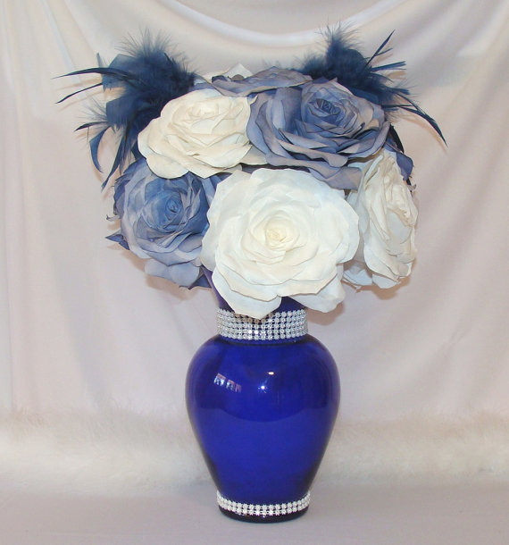 Navy Blue Wedding Centerpiece Bridal Decor Quinceanera Baby Shower Cake Table Fake Fl Arrangement