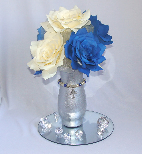 Aviation Centerpiece Navy Blue Wedding Arial Bridal Shower Decor Table Airplaine Baby