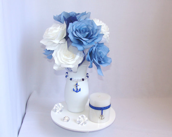 Anchor Centerpiece Navy Blue Wedding Nautical Bridal Shower Decor Quinceaners Table