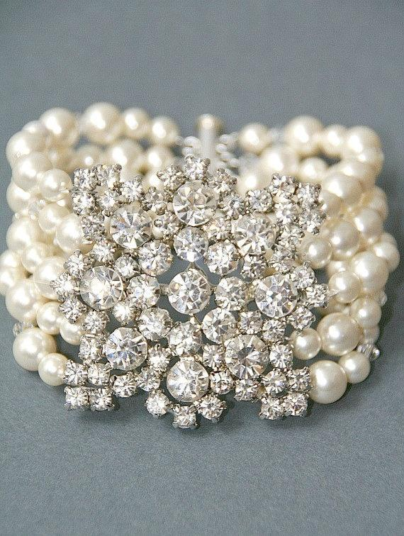 Until Sept 5 Bridal Bracelet Vintage Style Crystal Pearl Wedding Cuff Brooch Jewelry Br