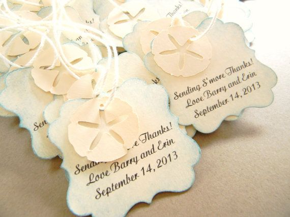 Beach Wedding Favor Tags For Bags Starfish Sand Dollar 100
