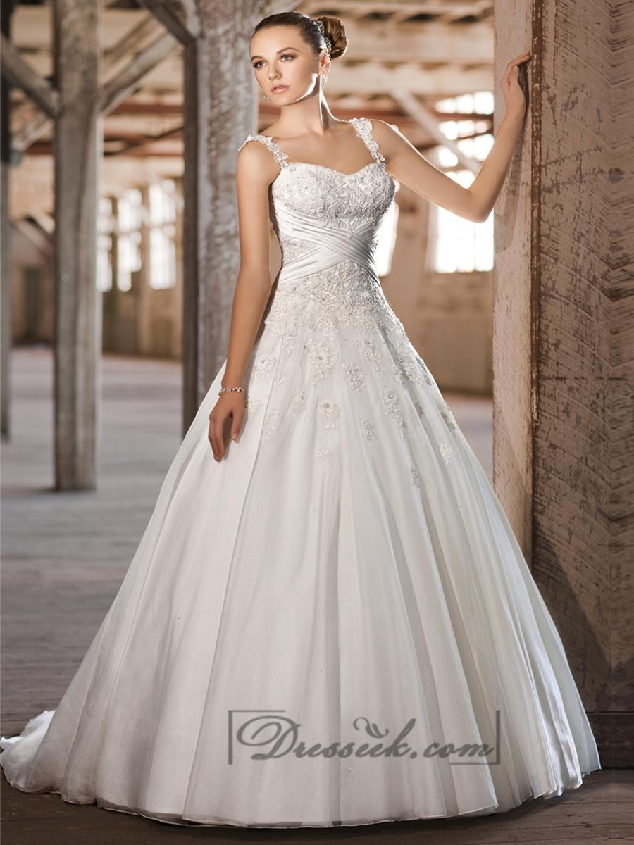 Straps Sweetheart Lace Liques Criss Cross Bodice A Line Princess Wedding Dresses