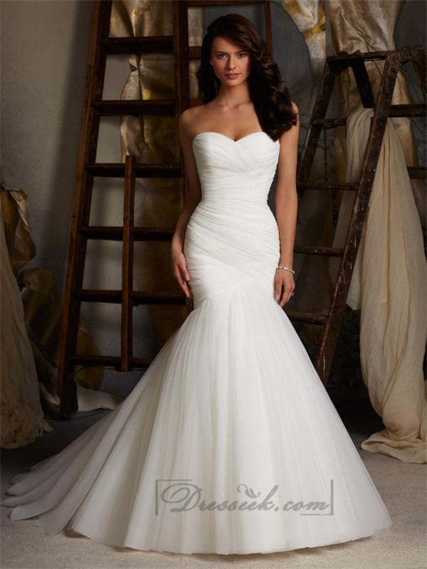 Fit And Flare Strapless Criss Cross Pleated Sweetheart Wedding Dresses