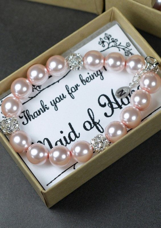 Bridesmaid Bracelet Jewelry Wedding Party Blush Pink Gift Monogrammed Gifts Pearl Gif