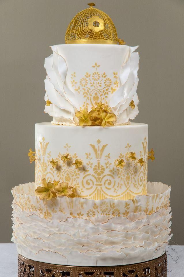 wedding cakes gold and white gold wedding white amp gold wedding cakes 2204484 weddbook 24440