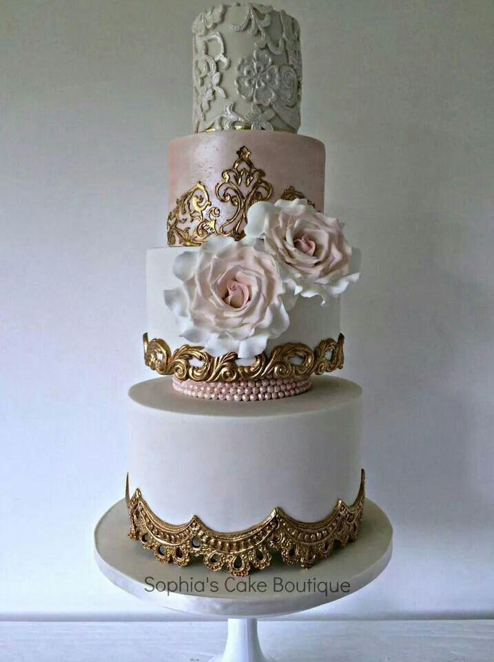 white and gold wedding cake images gold wedding white amp gold wedding cakes 2205805 weddbook 27206