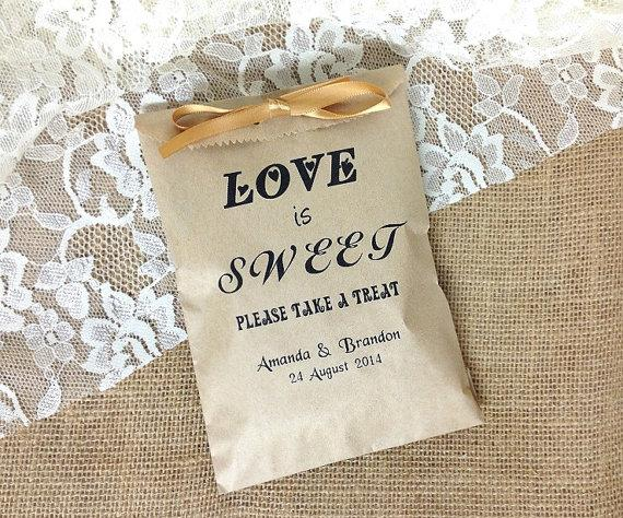 50 Personalized Love Is Sweet Rustic Wedding Favor Bag Brown Kraft Paper Gift Bags