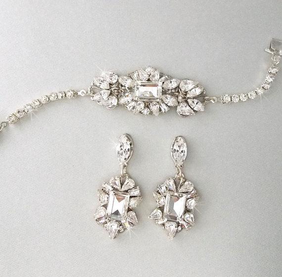Wedding Jewelry Set Bracelet Bridal Earrings Gatsby Style Art Deco Sonya
