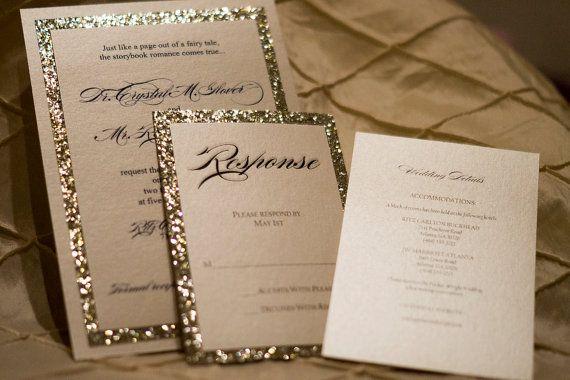 Gold Silver Glitter Wedding Invitation Ensemble