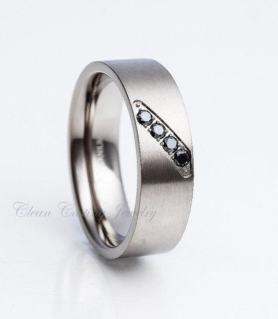 Men S Black Diamond Anium Ring Wedding Band Brushed Polish Pipe Cut Engagement Anniversary 8mm