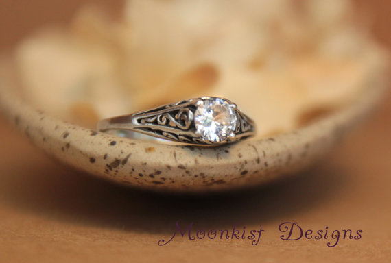 Dainty White Shire Filigree Engagement Ring In Sterling Silver Vintage Style Wedding Solitaire