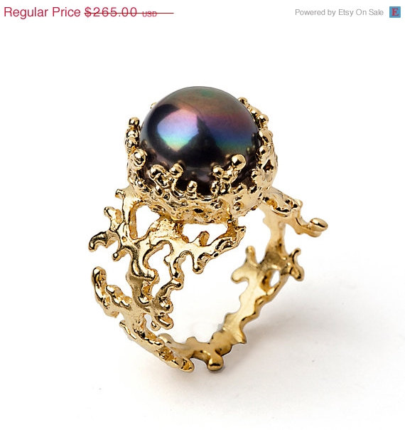 On C Black Pearl Ring Gold Engagement Statement Large