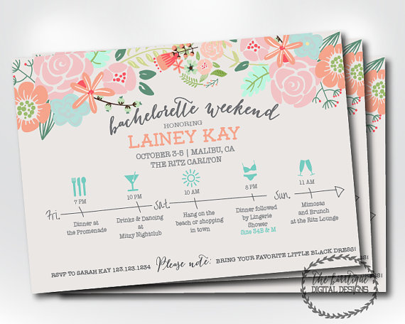 Bachelorette Party Itinerary Invitation Weekend Schedule Timeline Digital Printable