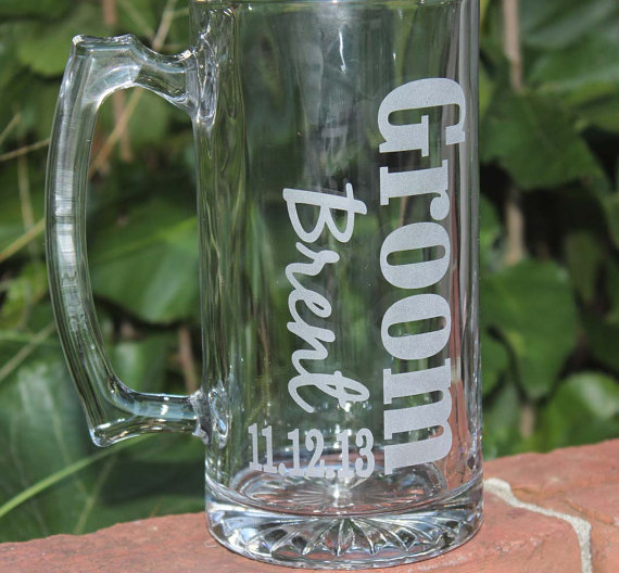 Well known 1 Personalized Groomsman Gift, Etched Beer Mug. Great Bachelor  IN54