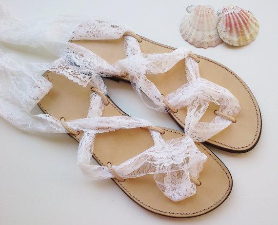Wedding Sandals White Beach Flat Sandal Bridal Shoes Bridesmaids Gift