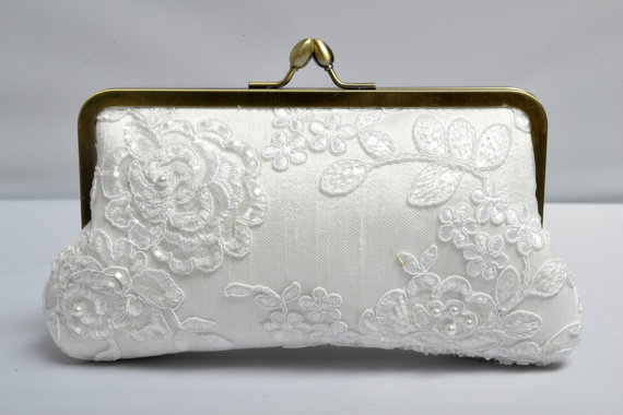 Pearl & Lace Bridal Clutch, White Wedding Purse, Beaded Clutch ...