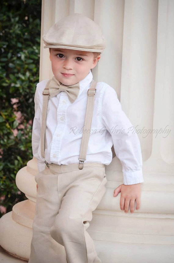 Linen Ring Bearer Outfit Bowtie Suspenders Newsboy Hat And Pants Wedding For Ringbearer