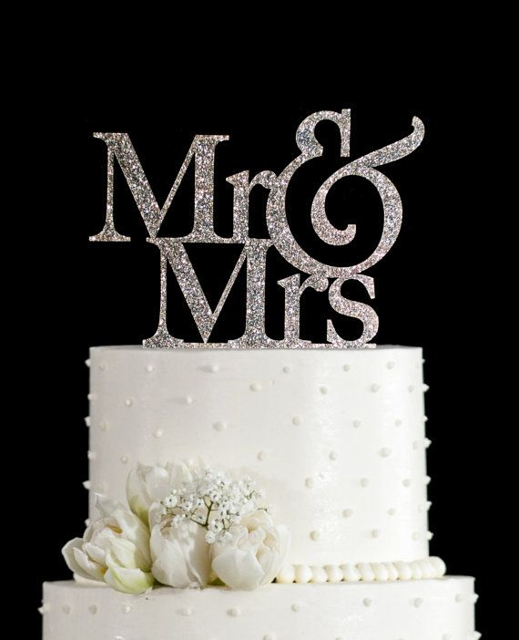 Glitter Mr And Mrs Wedding Cake Topper In Your Choice Of Elegant Custom Unique