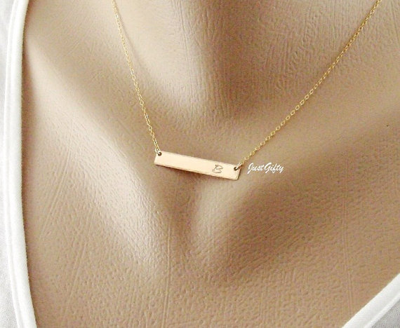 Gold Bar Initial Necklace Personalized Monogram Rectangle Letter Charm Modern Bridesmaid S Jewelry