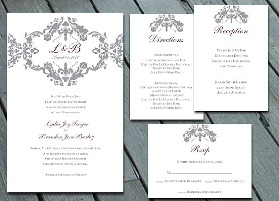 Damask Wedding Invitation Suite With Rsvp Info Card Direction Diy Printable Digital Files