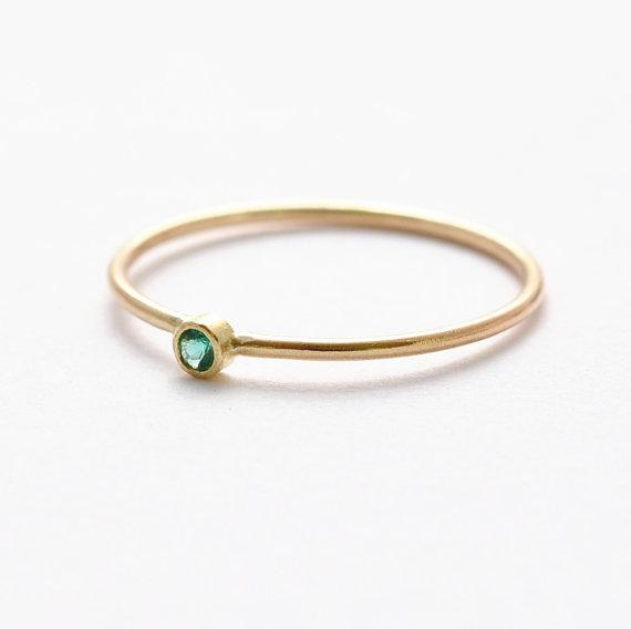 Non Diamond Engagement Ring Emerald 14K Gold Jewelry Wedding