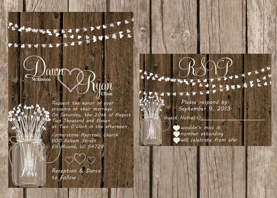 Rustic Wedding Invitation Heart Wood Invitaiton Country Custom