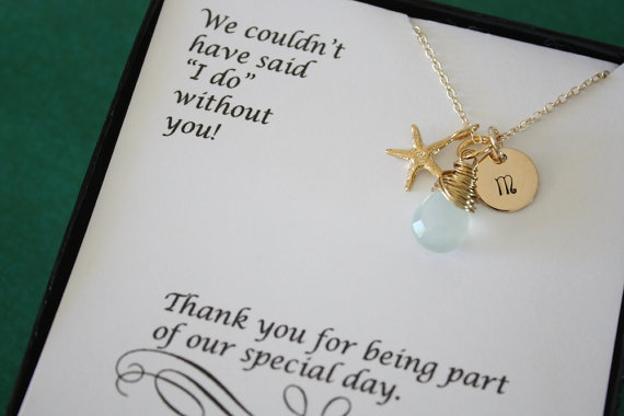 6 Bridesmaid Gift Personalized Gold Starfish Necklace Beach Wedding Gemstone Initial Jewelry Thank You Card