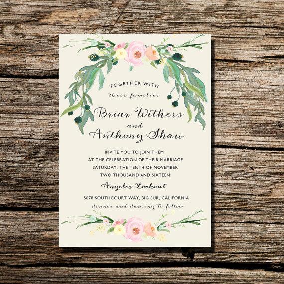 Printable Wedding Invitation Ivory Watercolor Fl Wreath Invite Diy