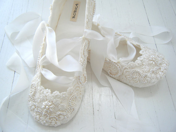 Ivory Ballet Flats Wedding Shoes Bridal Custom Made Lace Bobka By Bobkababy