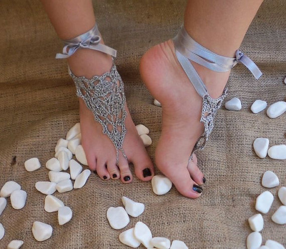 Bridal Wedding Shoes Gray Silver Crochetwedding Barefoot Sandals Foot Jewelry Victorian Lace Y Yoga Anklet