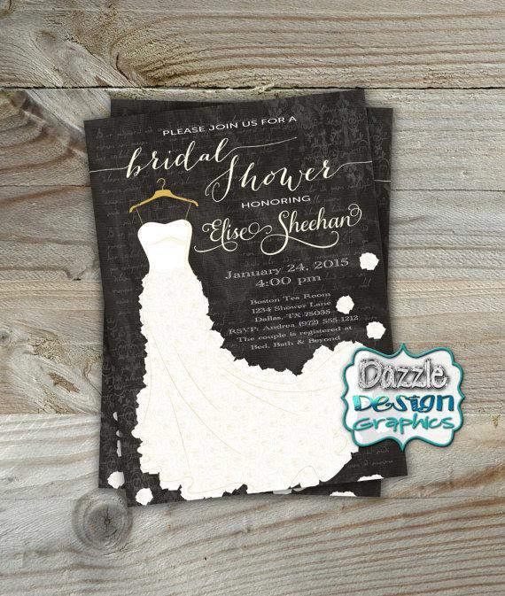 Bridal Shower Invitation Printable Wedding Dress Invite Roses Script Accents 501 Digital File Or Prints
