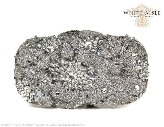 Crystal Clutch Bridal Silver Minaure Wedding Purse Evening Bag Luxury Rhinestone