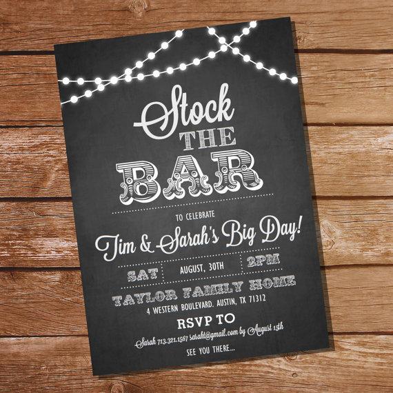 teenage christmas card photo ideas - Chalkboard Stock The Bar Engagement Party Invitation