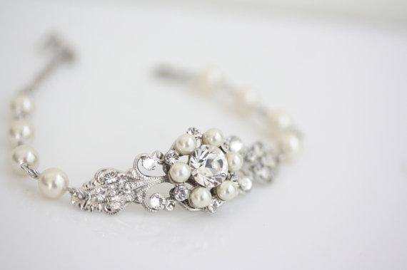 Wedding Jewelry Rhinestone Pearl Bridal Bracelet Filigree Cuff Paris Clic