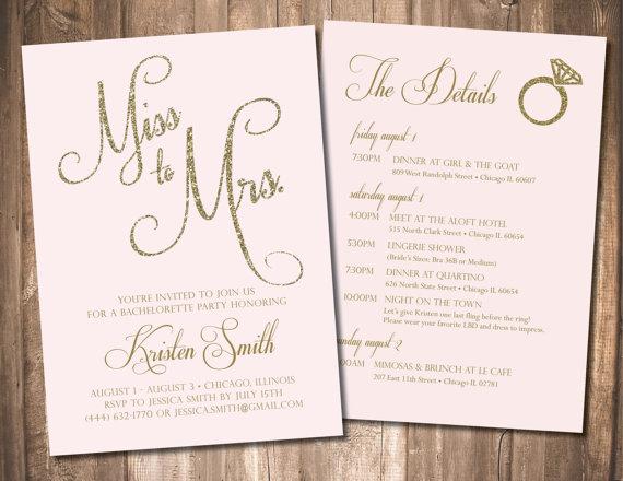 Bachelorette Invitation Party Invite Itinerary Customizable Printable Gold Blush Pink Mint Black