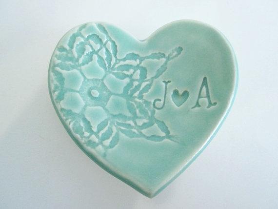 Engagement Ring Holder Mint Green Dish Wedding Bridal Shower Gift