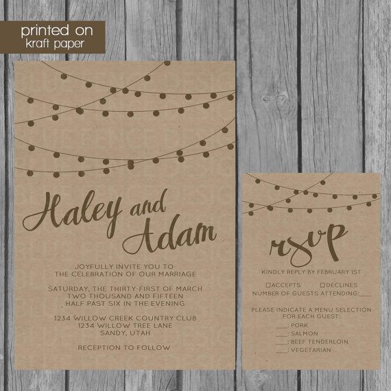 String Lights Kraft Paper Wedding Invitation