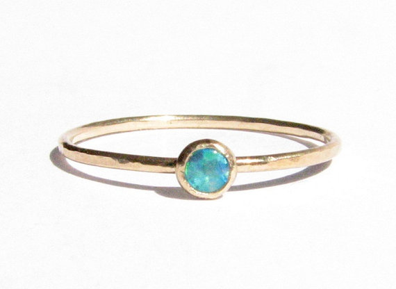 Opal & 14k Solid Gold Ring Stacking Ring Thin Gold Ring