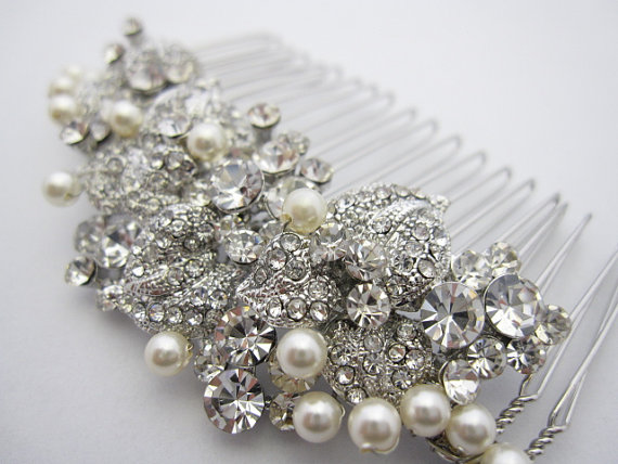 Pearl Bridal Comb Hair Crystal And Wedding Accessories
